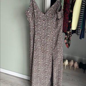 Long floral dress with leg slit